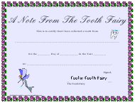 """""""Tooth Fairy Collected Tooth Certificate Template"""""""