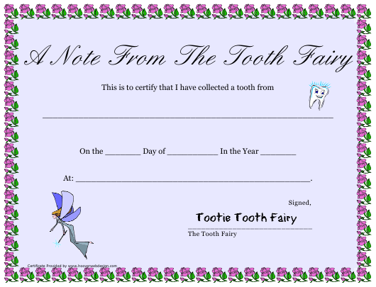 """""""Tooth Fairy Collected Tooth Certificate Template"""" Download Pdf"""