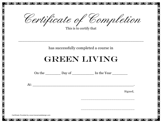 """Green Living Course Completion Certificate Template"" Download Pdf"