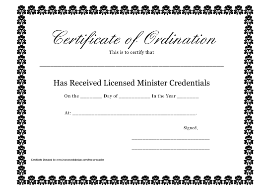 """""""Certificate of Ordination Template"""" Download Pdf"""