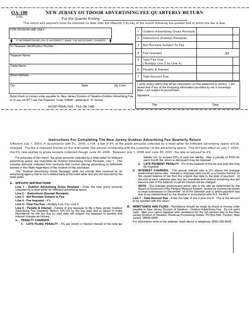 Form OA-100  Printable Pdf