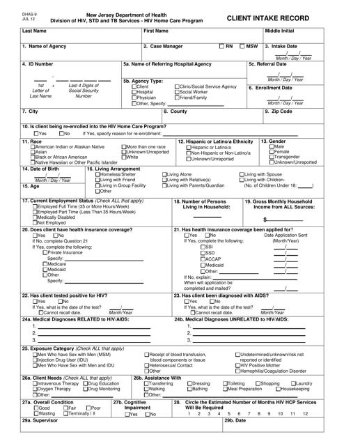 Form DHAS-9  Printable Pdf