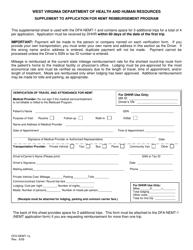 """Form DFA-NEMT-1a """"Supplement to Application for Nemt Reimbursement Program"""" - West Virginia"""