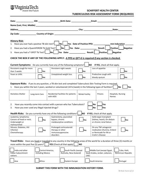 """""""Tuberculosis Risk Assessment Form - Schiffert Health Center - Virginia Tech"""" Download Pdf"""