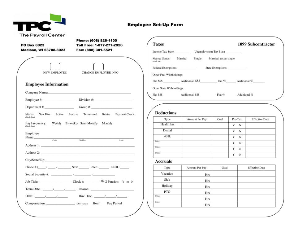 employee set-up form