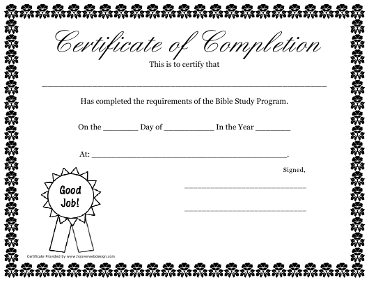 """""""Certificate of Completion Template - Bible Study Program"""" Download Pdf"""