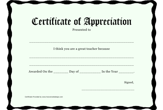 """Certificate of Appreciation Template - Great Teacher"" Download Pdf"