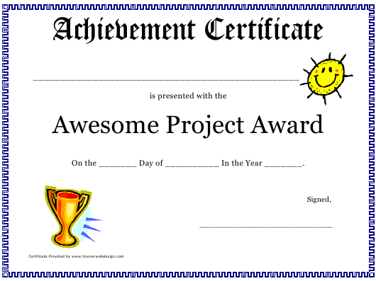 """""""Awesome Project Award Certificate Template"""" Download Pdf"""