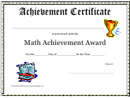 """Math Achievement Award Certificate Template"""