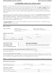 """Campership Assistance Application Form - Boy Scouts of America"" - Mecklenburg County, North Carolina"