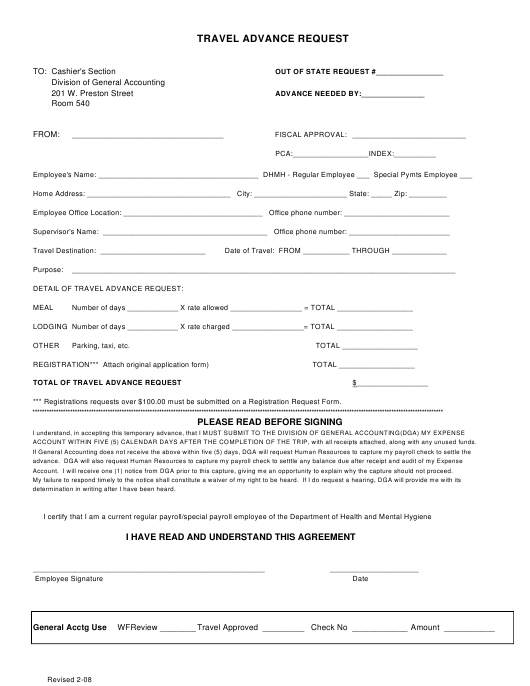 Travel Advance Request Form - Maryland Download Pdf