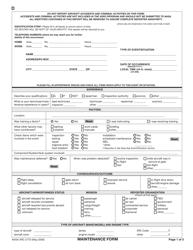 "NASA ARC Form 277D ""Maintenance Report"""