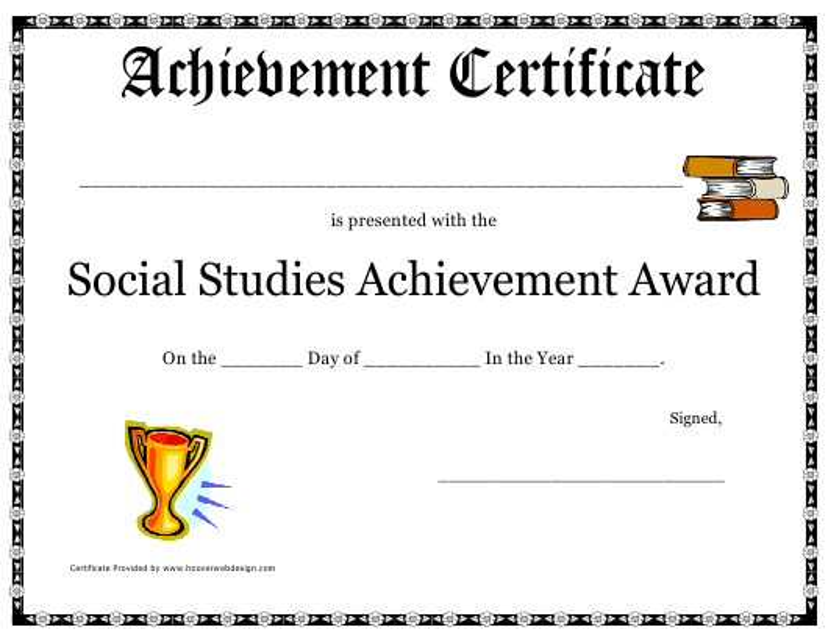 social studies achievement award certificate template download