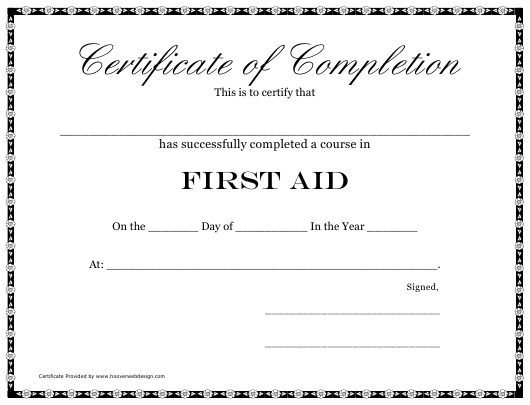 """First Aid Course Completion Certificate Template"" Download Pdf"