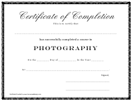 Photography Course Certificate of Completion Template