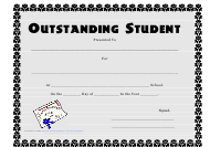 """Outstanding Student Award Certificate Template"""