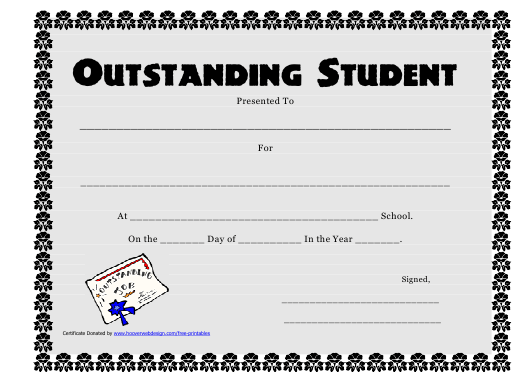 """Outstanding Student Award Certificate Template"" Download Pdf"
