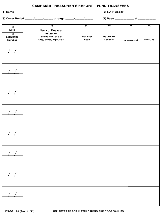 Form DS-DE13A  Printable Pdf