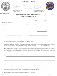 """Form AB-0023 """"Application for License to Sell Alcoholic Beverages at Wholesale"""" - Tennessee"""