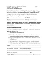Reserved Ada Parking Application Form - Kentucky