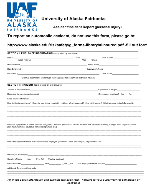 """Accident/Incident Report Form - University of Alaska Fairbanks"" Download Pdf"