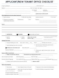Applicant/New Tenant Office Checklist Form