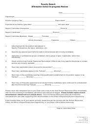 """Affirmative Action in-Progress Review Form - Faculty Search"""