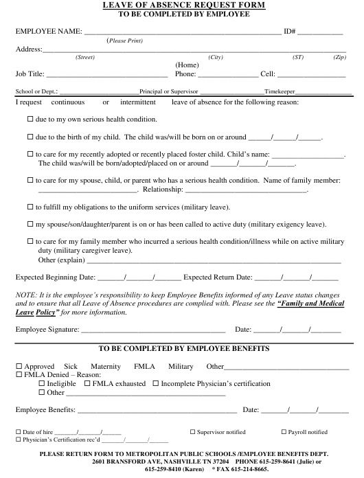 Leave of Absence Request Form -metropolitan Public Schools Download Pdf