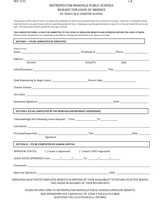 """""""Request Form for Leave of Absence to Teach in a Charter School - Metropolitan Nashville Public Schools"""" Download Pdf"""