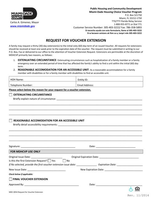 Form MDC-0054  Printable Pdf