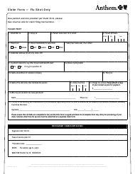 "Form 82160-Flu ""Claim Form - Flu Shot Only - Anthem Blue Cross and Blue Shield"" - Colorado"