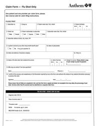 Form 82160-Flu Claim Form - Flu Shot Only - Anthem Blue Cross and Blue Shield - Colorado