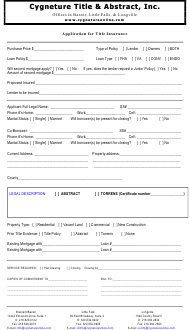 Title Insurance Application Form - Cygneture Title & Abstract, Inc.