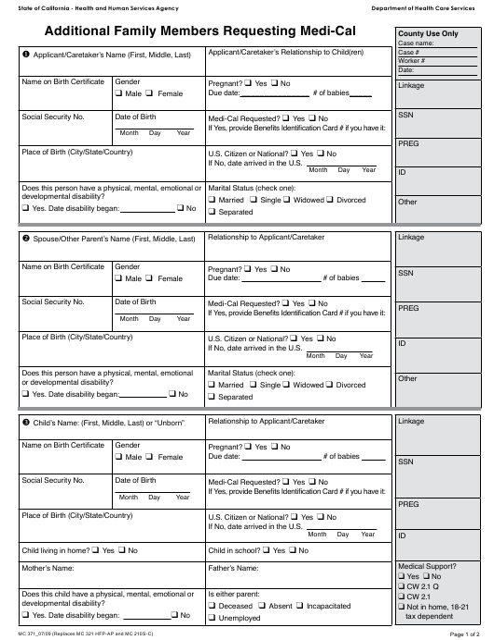 Form MC371  Printable Pdf