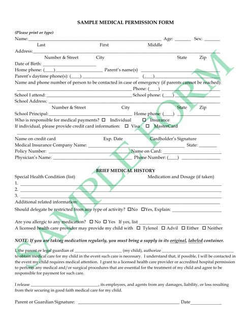 """""""Sample Medical Permission Form"""" Download Pdf"""