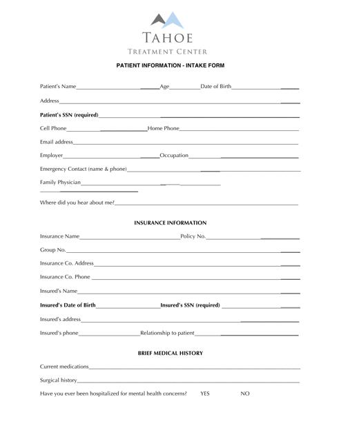 """Patient Information Intake Form - Tahoe Treatment Center"" Download Pdf"
