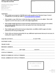 Form 110 Application for Addition to Liquor License - Nebraska