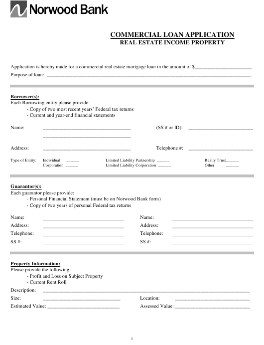 """Commercial Loan Application Form - Norwood Bank"" - Massachusetts Download Pdf"