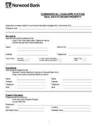 Commercial Loan Application Form - Norwood Bank - Massachusetts