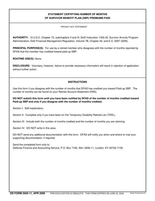 DD Form 2656-11  Printable Pdf