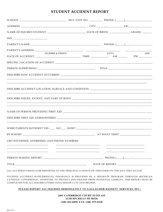 """""""Student Accident Report Form - Gallagher Bassett Services"""" - Michigan Download Pdf"""