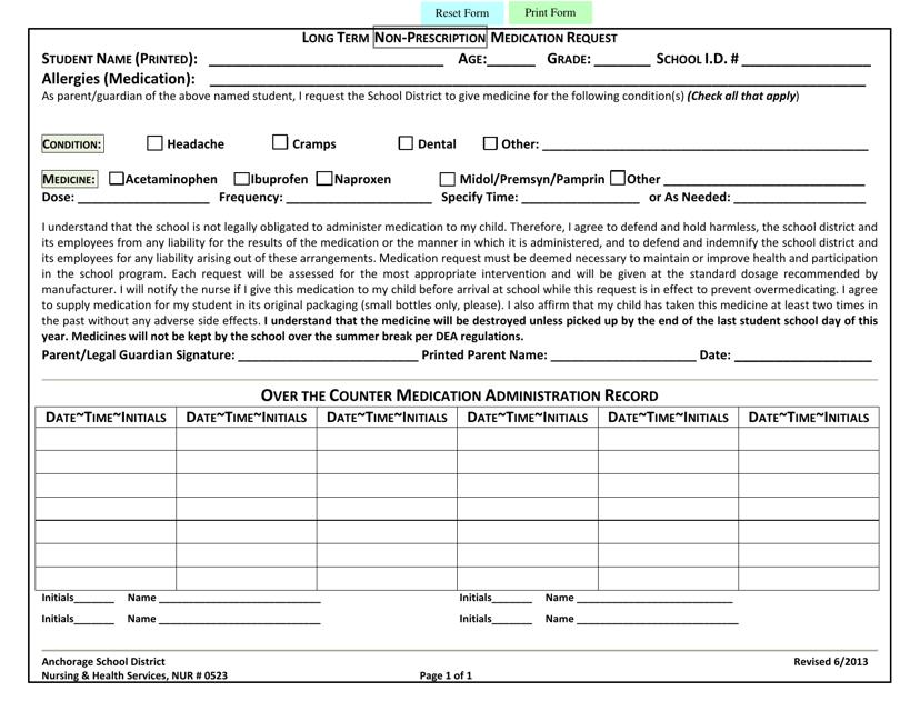 """Long Term Non-prescription Medication Request Form - Anchorage School District"" Download Pdf"