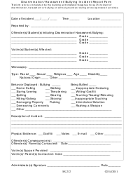 Discrimination/Harassment/Bullying Incident Report Form