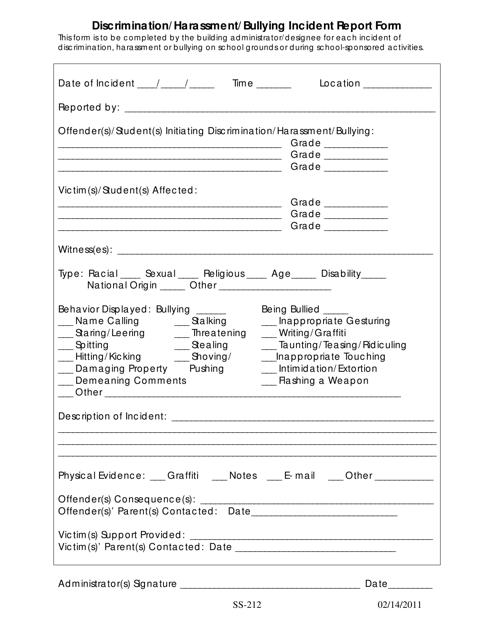 """Discrimination/Harassment/Bullying Incident Report Form"" Download Pdf"