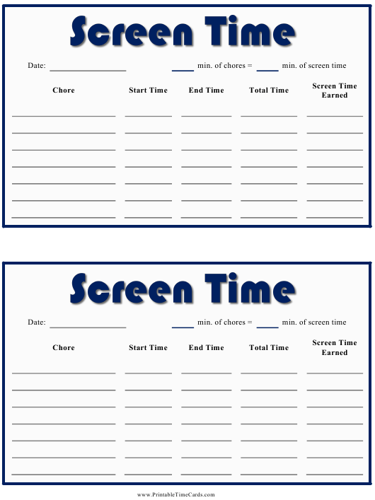 """""""Daily Screen Time Card Template"""" Download Pdf"""