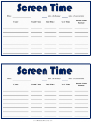 Daily Screen Time Card Template