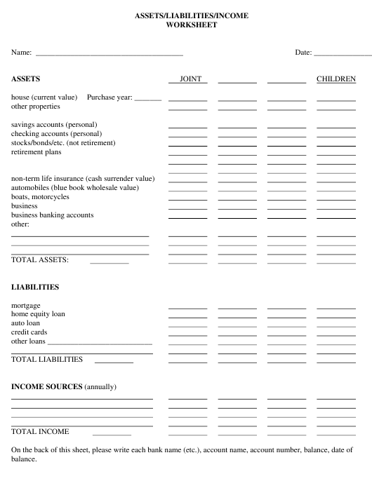 """Assets/Liabilities/Income Worksheet Template"" Download Pdf"
