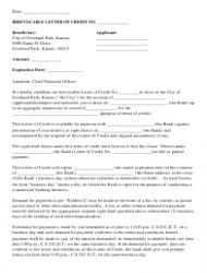 Irrevocable Letter Of Credit Form - City of Overland Park, Kansas