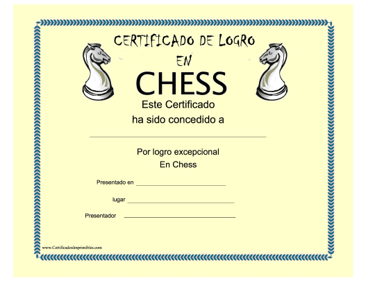 """Certificado De Logro En Chess"" (Spanish) Download Pdf"