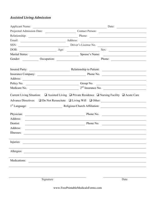 """Assisted Living Admission Form"" Download Pdf"